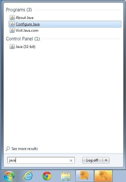 Buscar Java Windows 7