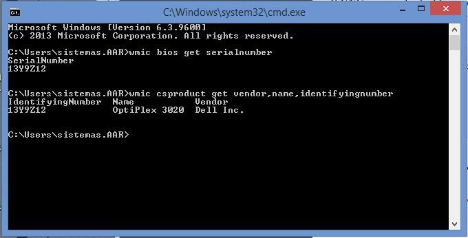 Wmic - numero de serie de una computadora y Marca Modelo ID