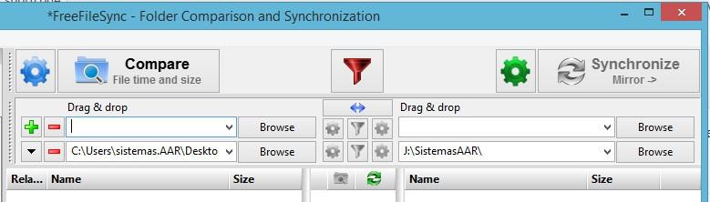 FreeFileSync - Crear respaldo de archivos - Agregar nueva carpeta