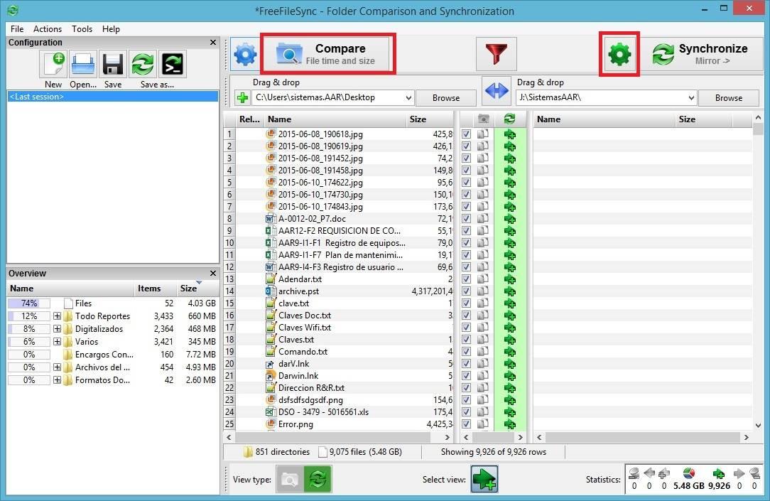 FreeFileSync - Crear respaldo de archivos - Comparar Archivos