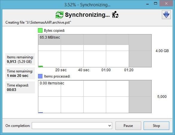 FreeFileSync - Crear respaldo de archivos - Sincronizando