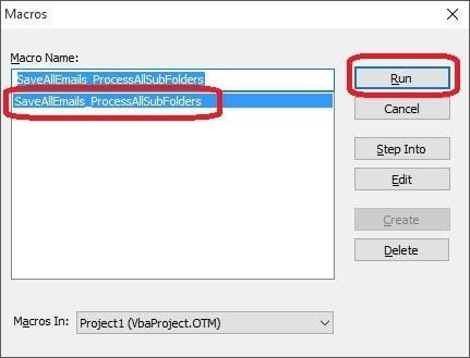 Ejecutar VBScript Copiar los correos de Outlook-2