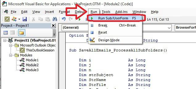 Ejecutar VBScript Copiar los correos de Outlook