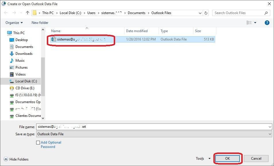 Restablecer respaldo de Outlook (pst) - 4
