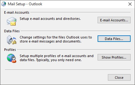 Mail Setup - Ruta donde se guardan los PST y OST