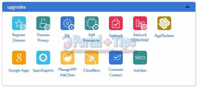bluehost-cpanel-upgrades-menu
