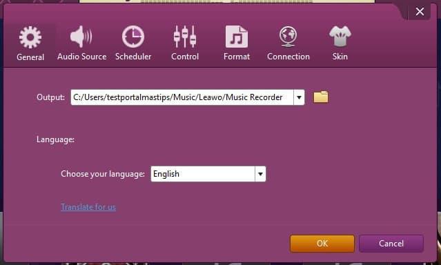 Leawo music recorder grabar audio configuracion general