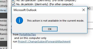 Outlook rules wizard no muestra ejecutar un script esta accion no esta disponible en el modo actual