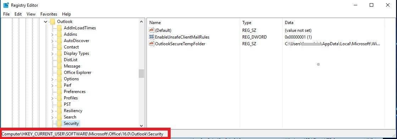 Outlook rules wizard registro habilitar opcion ejecutar un script