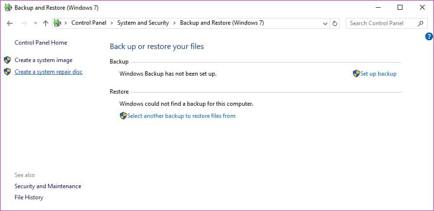 Windows 10 crear disco de reparacion opcion crear disco