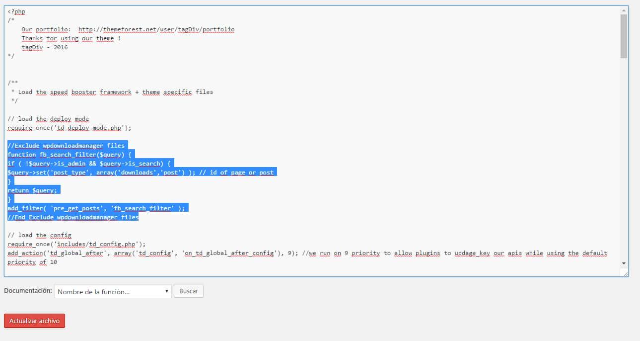 Wordpress excluir resultados de busqueda codigo