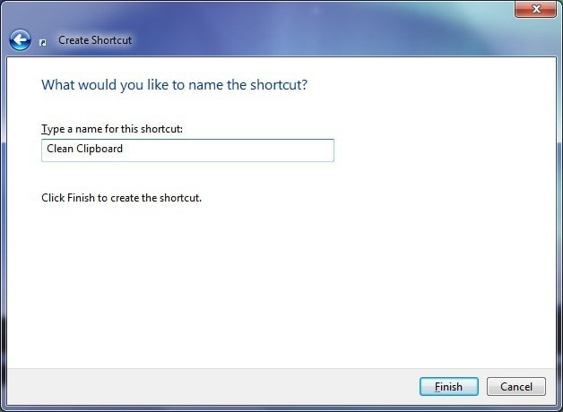 Crear acceso directo para eliminar contenido del portapapeles - Nombre