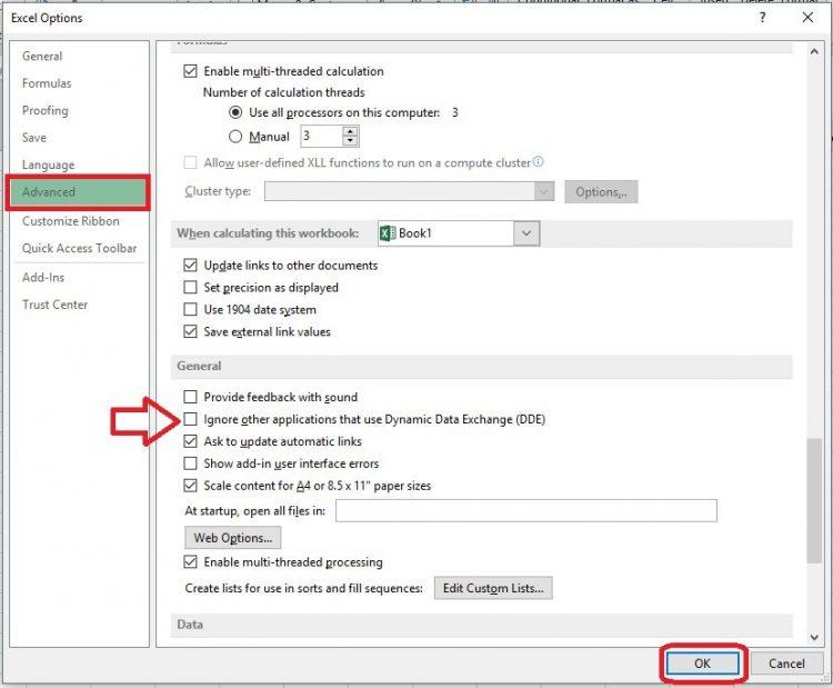 Solución para el Error se produjo un problema al enviar el comando al programa Excel 2013 y 2016