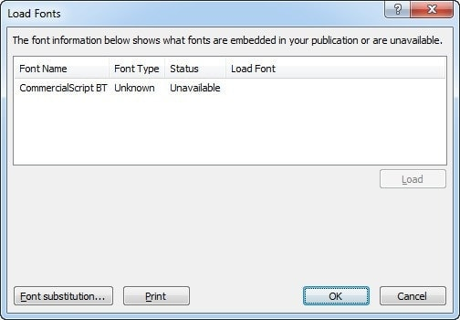 Error - The font information below shows what fonts are embedded in your publication or are unavailable