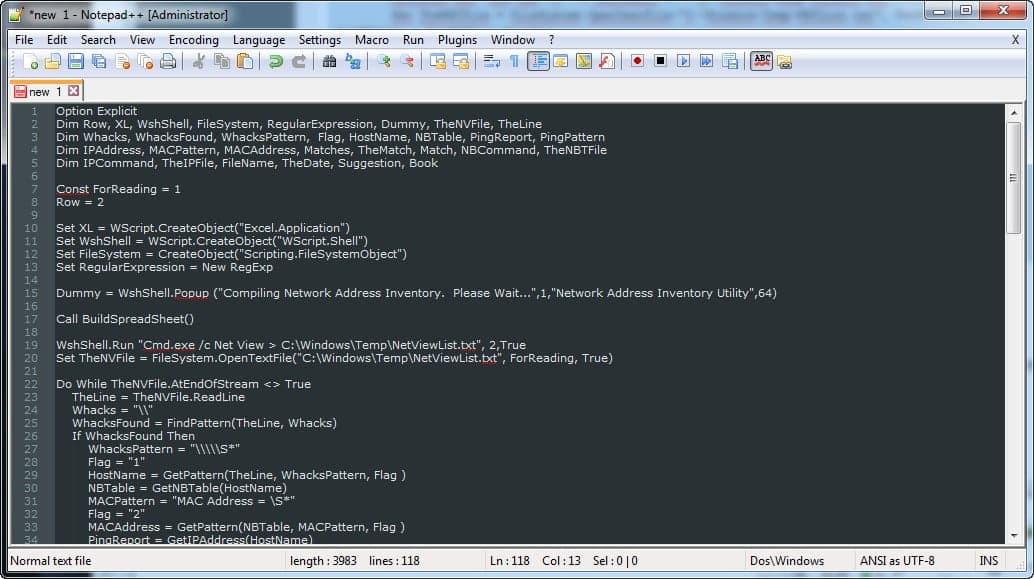 Pegar en notepad++ el Código VBScript para crear inventario de red local automático
