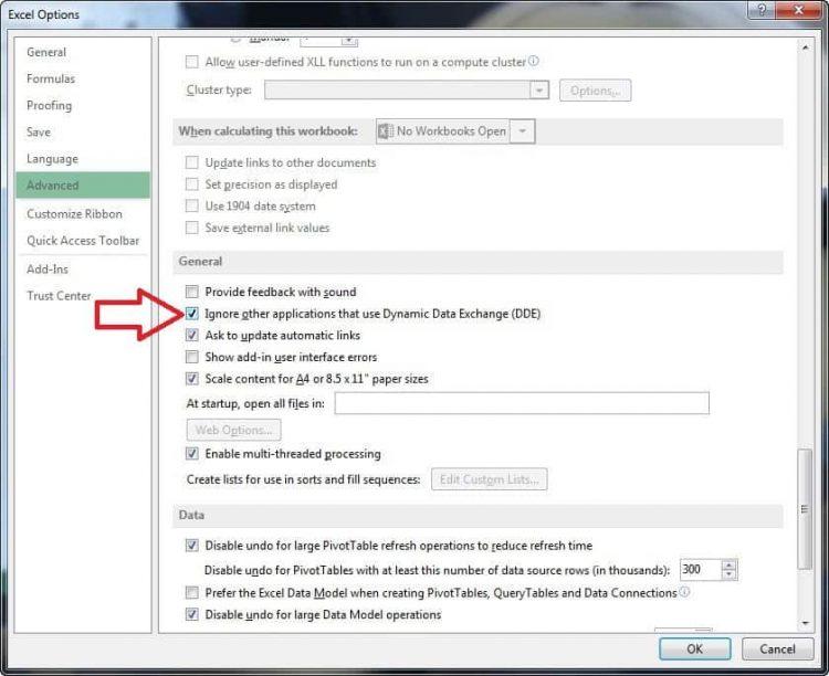 Causa del error en Excel es la opción: