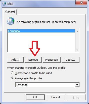 Restablecer Configuración de Microsoft Outlook en Windows - Remover Perfil