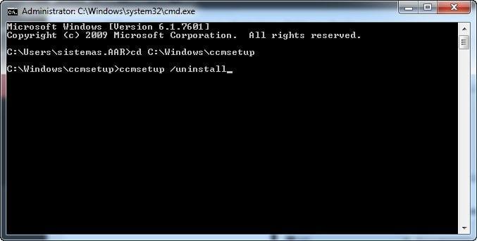 ccmsetup /uninstall - Instrucciones para desinstalar System Center 2012