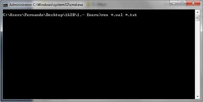 Renombrar la extension de archivos por lotes - CMD ren