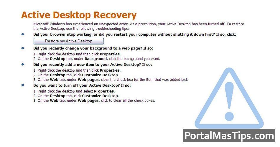 Cómo quitar / solucionar la pantalla Active Desktop Recovery en Windows 5