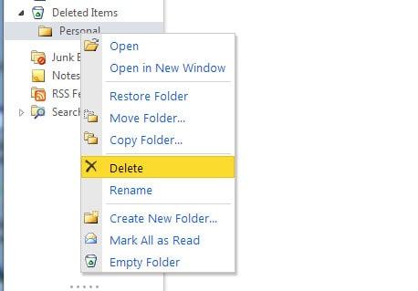 Eliminar carpeta desde Outlook Web App (OWA)