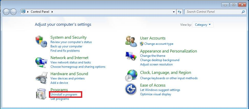 Control Panel 1 - Windows 7