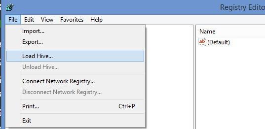 Registry Editor - Load hive
