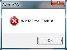AdminPAQ - Win32 Error. Code: 8