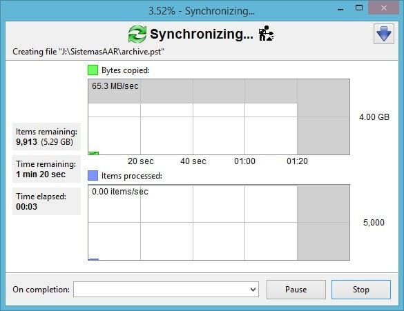 FreeFileSync - Crear respaldo de archivos - Sincronizando