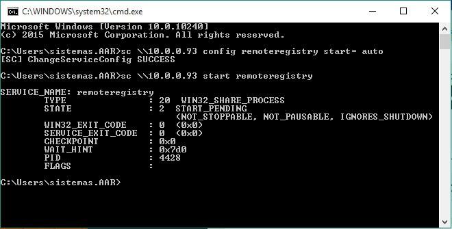 Habilitar servicio de registro remoto - Equipo Remoto