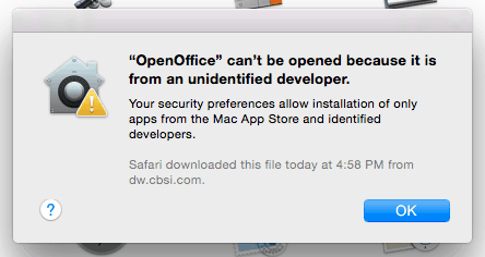 Error OpenOffice - Your security preferences allow installation of only apps from the Mac App Store and identified developers