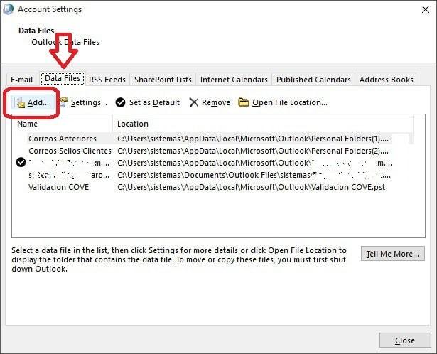 Restablecer respaldo de Outlook (pst) - 3