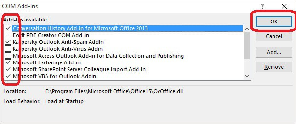 Ventana Add-Ins - Outlook has stopped working