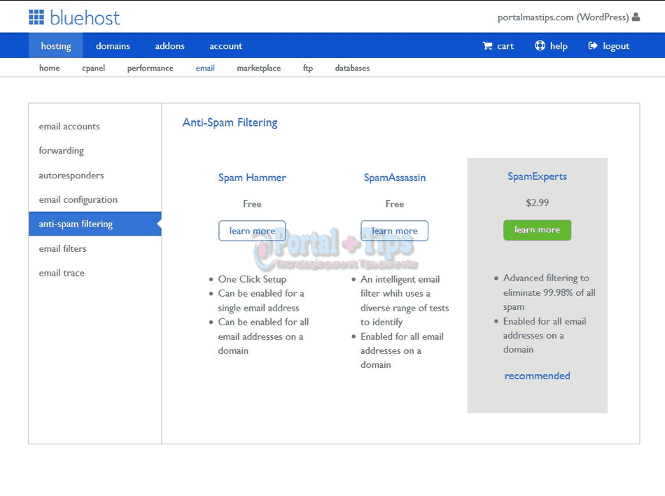 bluehost-cpanel-email-anti-spam