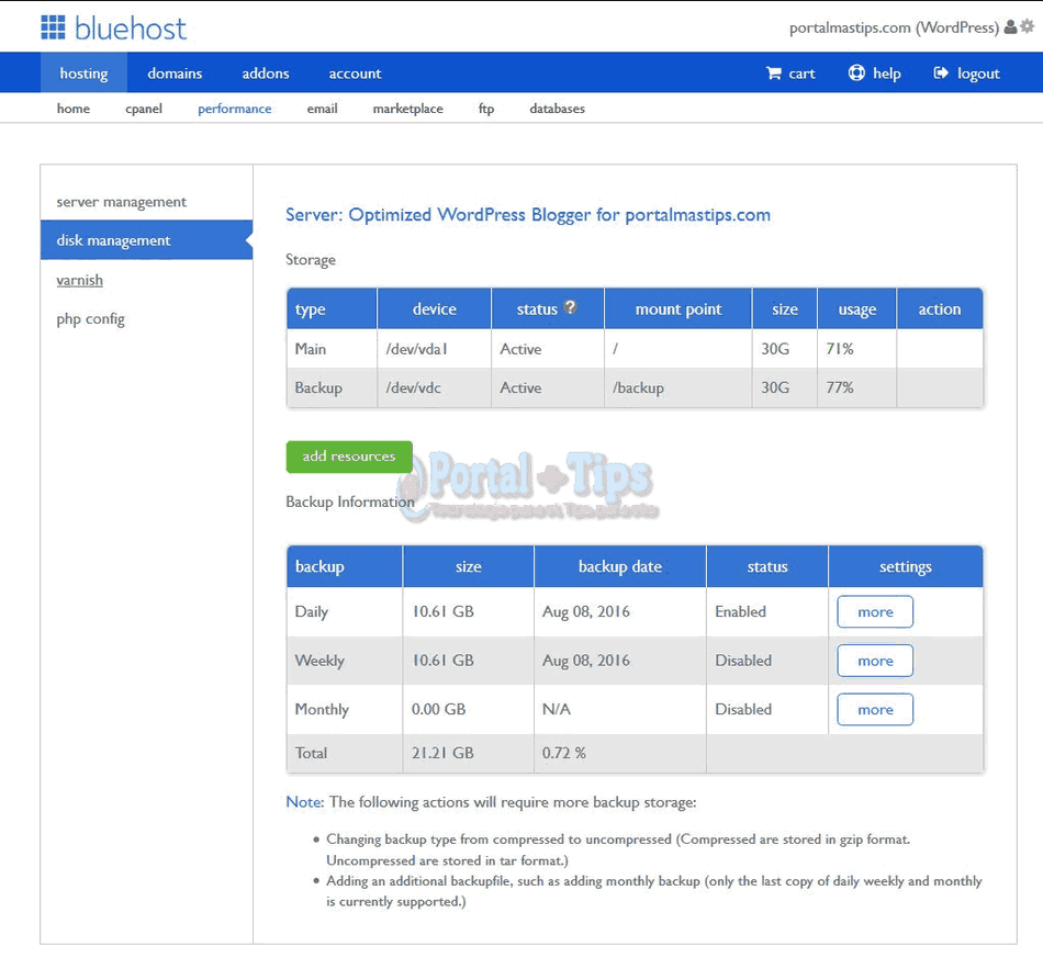 bluehost-cpanel-performance-disk-management