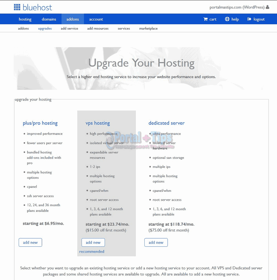 bluehost-cpanel-upgrades