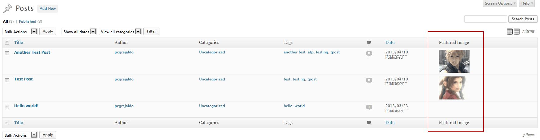 Wordpress - Agregar Columna de Imagen Destacada en listado de entradas 9