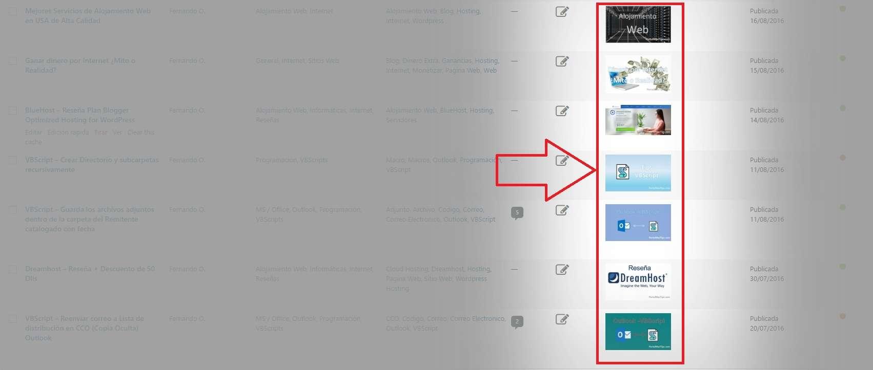 Wordpress - Agregar Columna de Imagen Destacada en listado de entradas 1