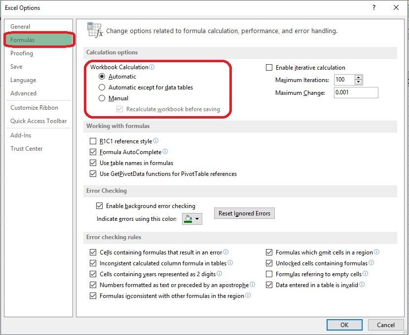 Excel - No actualiza valores de formulas automáticamente 3