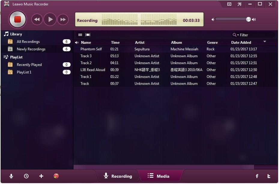 Leawo music recorder grabar audio administrador de audios