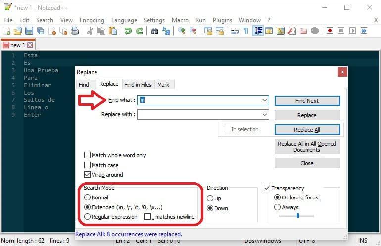 NotePad++ - Buscar y remplazar Enters (Saltos de Linea) en un texto 2