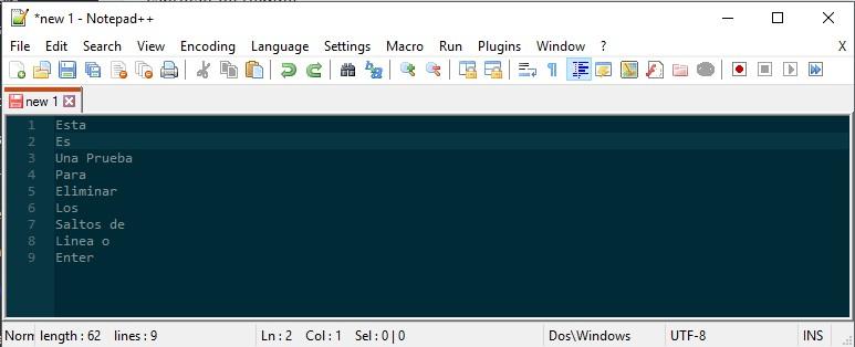 NotePad++ - Buscar y remplazar Enters (Saltos de Linea) en un texto 1