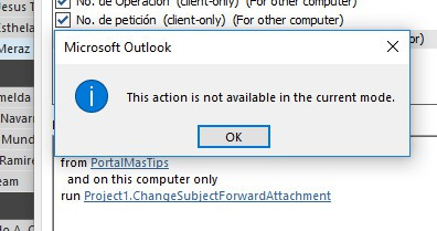 Outlook rules wizard no muestra ejecutar un script esta accion no esta disponible en el modo actual