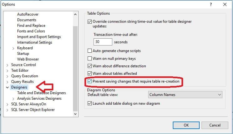SQL - Error: guardar cambios no esta permitido 4