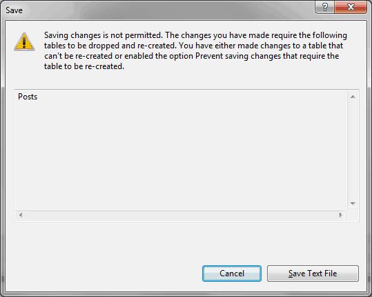 SQL - Error: guardar cambios no esta permitido 2