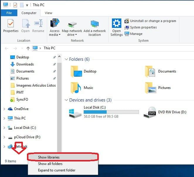 Windows 10 - Habilitar bibliotecas en el explorador de archivos 1
