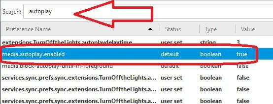 Evitar que se reproduzcan videos automaticamente en firefox buscar registro