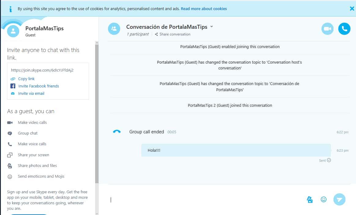 Skype sin cuenta invitado escribiendo7