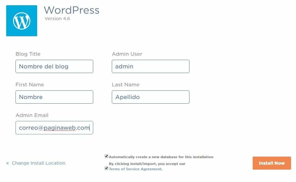 Bluehost iniciar un blog paso a paso datos del blog