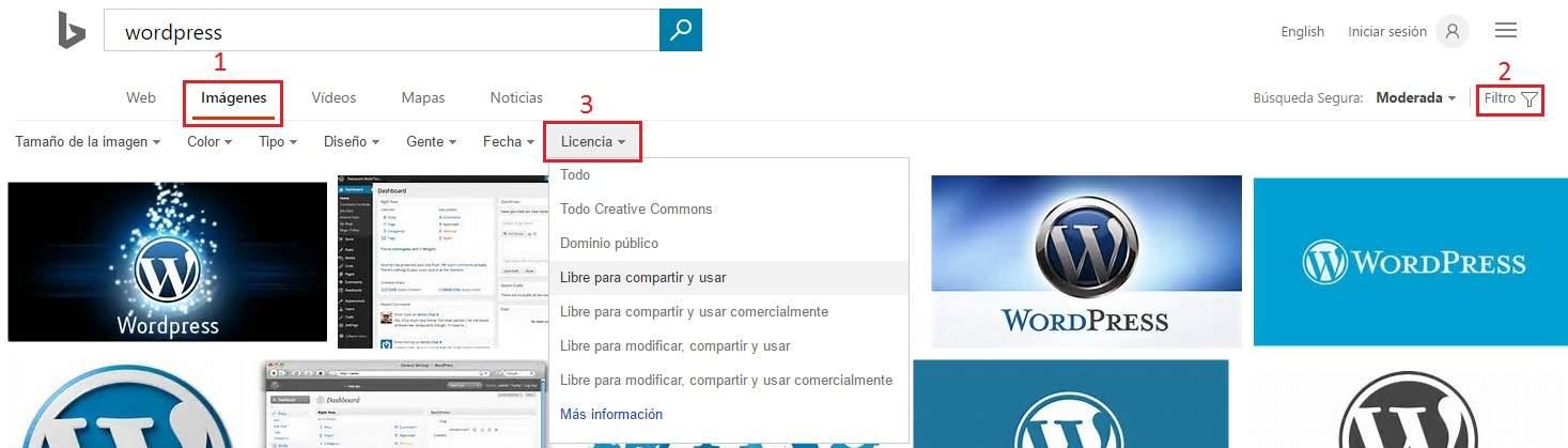 Busqueda de imagenes con licencia bing espanol
